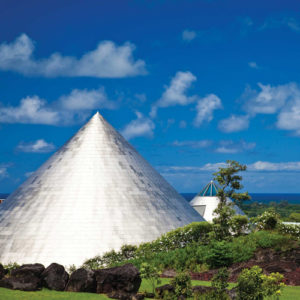 Imiloa Astronomy Center's design mimics the area's largest mountains.